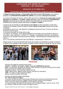 Communiqué SONERION Concours Kas abarh de Carnac 2015.
